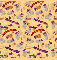 Seamless pattern flat on school theme bird owl vector