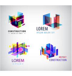 set abstract geometric colorful logos vector image