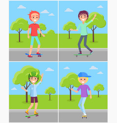 set of boys skaters riding in green park vector image