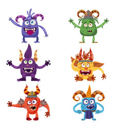 Set of cute funny characters troll bigfoot vector