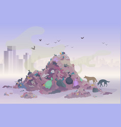 smelling landfill waste landscape with city vector image