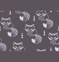 Snow foxes seamless pattern vector
