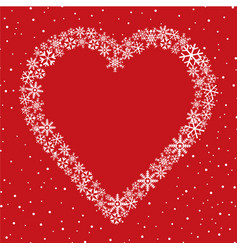 snow heart frame christmas winter holiday vector image