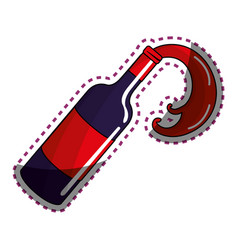 Sticker bottle splashing wine icon vector