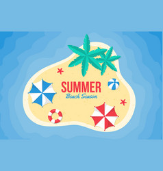 summer background flat design on beach vector image