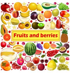 summer background fruits and berries icon set vector image