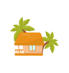 summer beach house small straw hut vector image