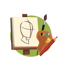 Symbols of the artist profession artists supplies vector
