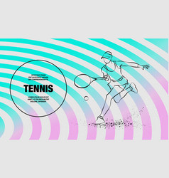 tennis player with racket outline soccer vector image