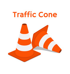 traffic cone equipment road cartoon style vector image