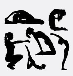 Trining sport female gymnastic silhouette vector