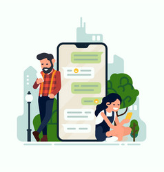 two characters chatting via smartphone app vector image