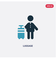 Two color luggage icon from people concept vector