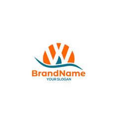 W sail logo design vector