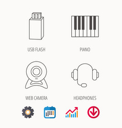 Web camera headphones and usb flash icons vector