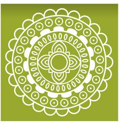 white wheel mandala green background image vector image