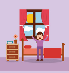 woman waking up in the bed and stretching vector image