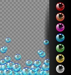 Colorful bubbles on translucent and black vector image vector image