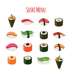 sushi - asian food with fish riceseaweed caviar vector image