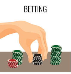betting concept hand moving poker chips isolated vector image