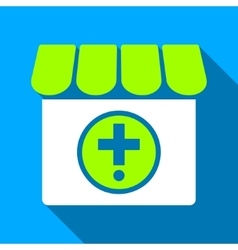 Drugstore Flat Long Shadow Square Icon vector image vector image