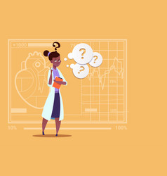 female african american doctor confused thinking vector image