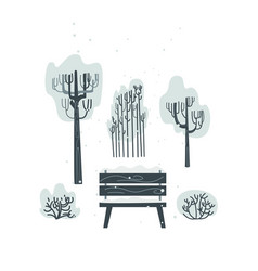 flat bench tree bush icon isolated vector image