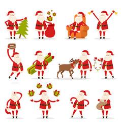 santa claus activities set new year and christmas vector image vector image