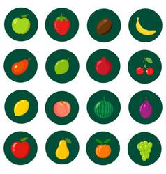 set of flat icons fresh natural fruits cartoon vector image vector image