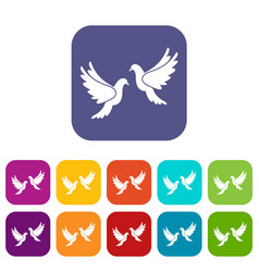 wedding doves icons set vector image vector image
