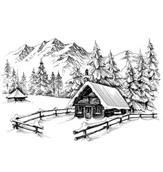 winter cabin in the mountains vector image vector image