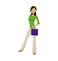 beauty woman standing with purple bag gift vector image