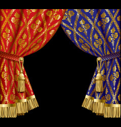 blue and red drapes vector image vector image