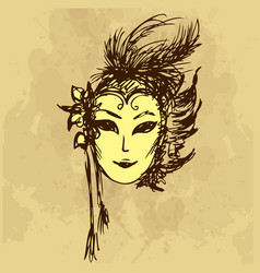 carnival masks hand drawing vector image