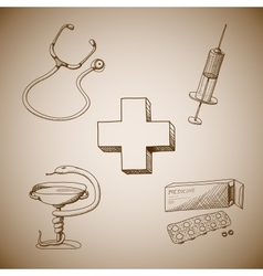Collection of medical symbols vector image