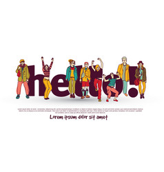 hello team group people isolate and sign vector image