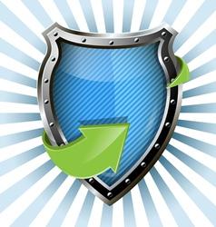 metallic blue shield vector image vector image
