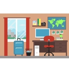 Room interior with window and map vector