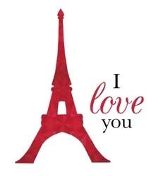 Ruby Red Eifel Tower Paris On St Valentines vector image