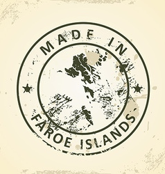 Stamp with map of Faroe Islands vector image