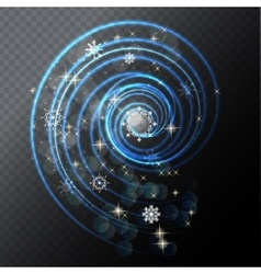 Transparent Glossy Frame with Lights Snowflakes vector image