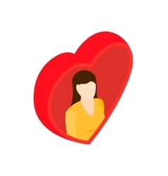 Women in heart isometric 3d icon vector image vector image