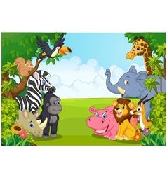 Cartoon collection animal in the jungle vector image vector image