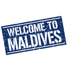 welcome to maldives stamp vector image vector image