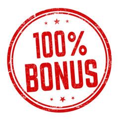 100 percent bonus sign or stamp vector