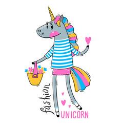 a rainbow unicorn in vector image