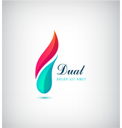 Abstract dual 2 parts vibrant logo vector