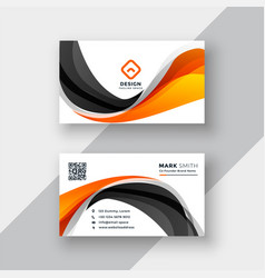 Abstract orange and black wave business card vector