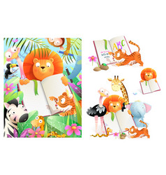 African animals zoo reading book study set vector