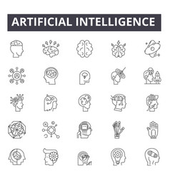artificial intelligence line icons for web and vector image